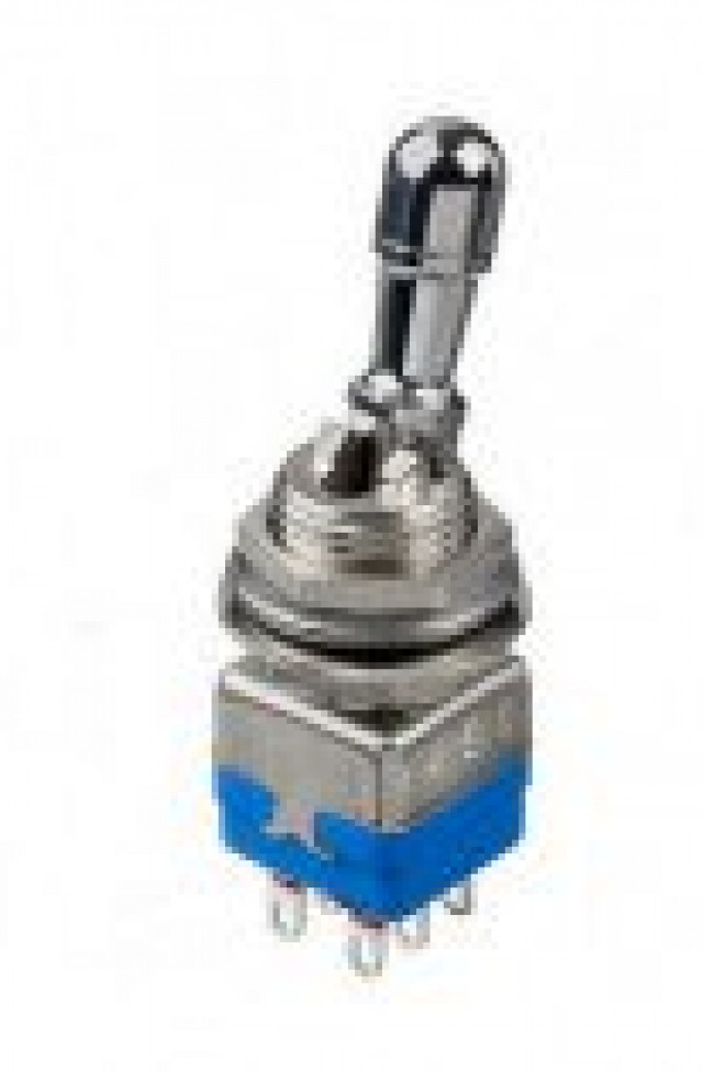 Apem 12146AD2 Apem 12000 Series Double pole On - On Toggle Switch with Solder lug terminals and Gold Plated over Silver contacts. Switch has a Bright Chrome Finish. (Series Image)