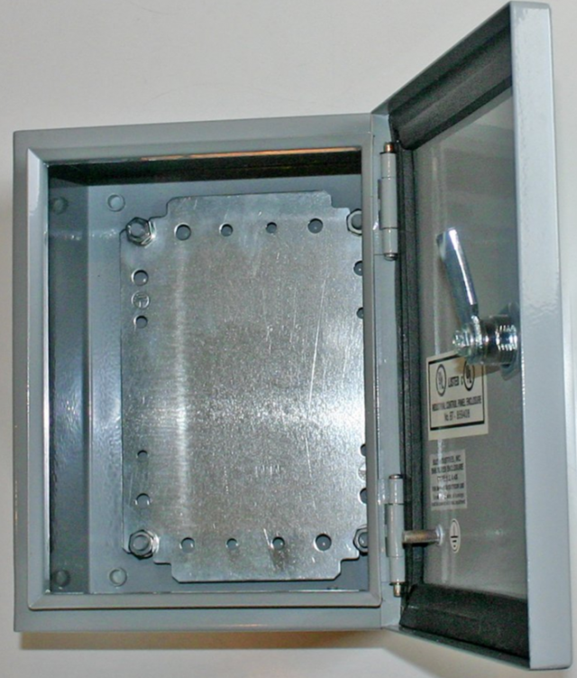 BUD SNB-3743-SS BUD NEMA 4 Stainless Steel 15.75 x 13.98 x 7.87 Enclosure, with hinged cover clamps to the base and keyed quarter turn latch for a watertight seal. (Series Image)
