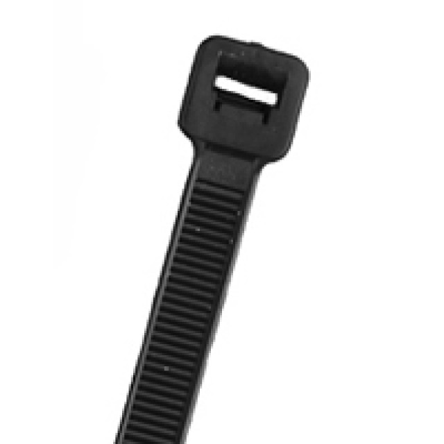 NTE 04-145030 CABLE TIE 50 LB. STANDARD 14.5 IN LENGTH HEAT STABILIZED BLACK NYLON 100/BAG (Product Image)
