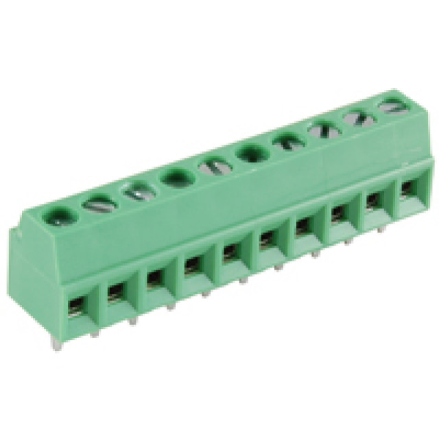 NTE 25-E100-10 TERMINAL BLOCK EUROSTYLE 10 POLE 3.50MM PITCH 300 V 10A PC MOUNT TERMINALS 26-16AWG WIRE RANGE (Product Image)