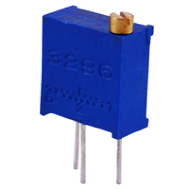 NTE 500E-0250 TRIMMER 20K OHM MULTITURN CERMET 3/8 INCH SQUARE TOP ADJUST 28 TURN 1/2 WATT 10% TOL STAGGERED LEADS (Product Image)