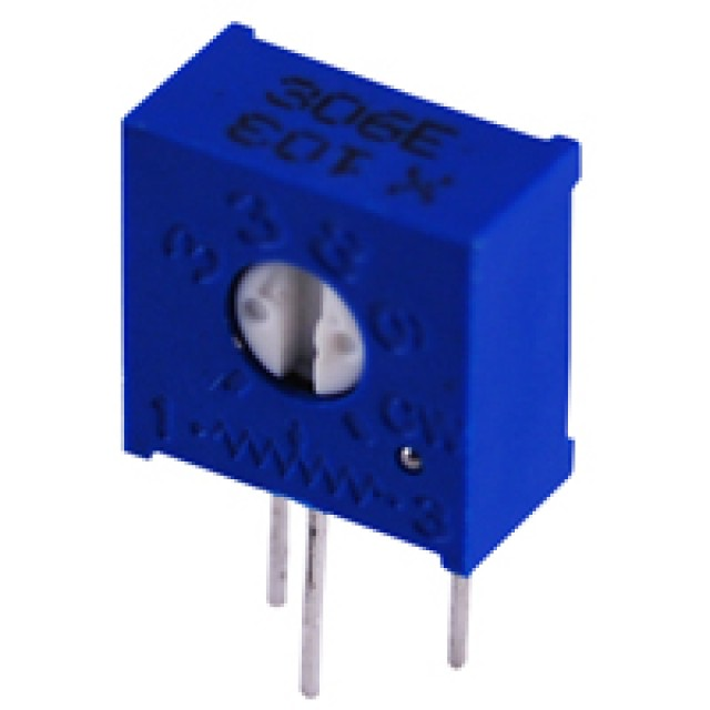 NTE 500E-0375 TRIMMER 20K OHM SINGLE TURN CERMET 3/8 INCH SQUARE SIDE ADJUST 1/2 WATT SEAMED 10% TOLERANCE (Product Image)
