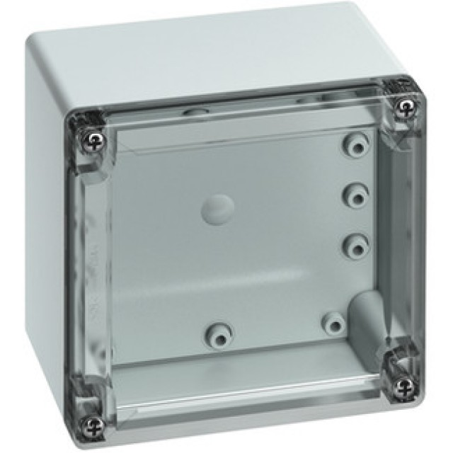 Altech 101-505-01 Protection Level: IP67 (NEMA 4X) Technical: Smooth Sidewalls, Gray or Transparent Cover, Standard or Quick Turn Screws, 97 x 95 x 0.4 mm Recess in Cover, Integrated Cover Retainer (Product Image)