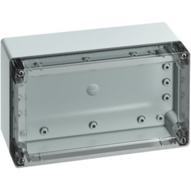 Altech 101-508-91 Protection Level: IP67 (NEMA 4X) Technical: Smooth Sidewalls, Gray or Transparent Cover, Standard or Quick Turn Screws, 175 x 95 x 0.4 mm Recess in Cover, Integrated Cover Retainer (Product Image)