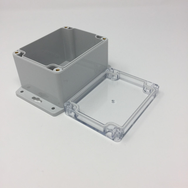 BUD PN-1328-CMB BUD NEMA Polycarbonate 4.29 x 3.30 x 2.92 Inch Internal box with Light Grey body and clear polycarbonate cover and Style 2 & 3 Mounting Bracket (Product Image)