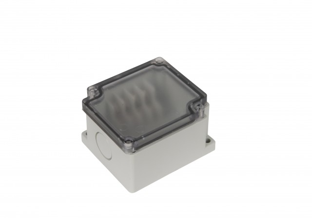 BUD PTT-10478-C BUD PTT-10478-C ABS- 4 side Terminal Block Box(65x74x43 mm)Clear Cover (Product Image)