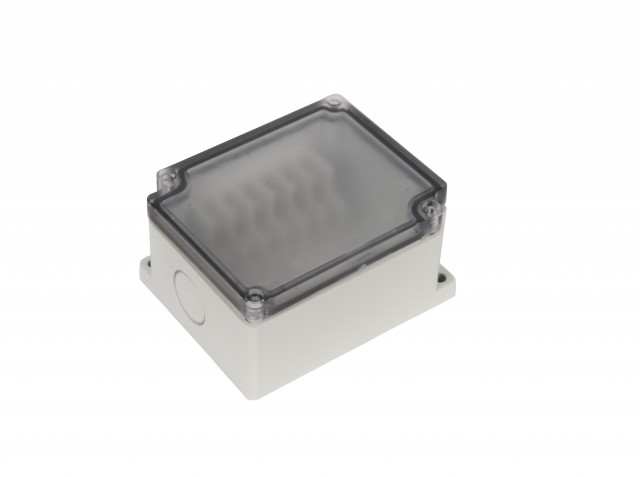 BUD PTT-10680-C BUD PTT-10680-C ABS- 6 side Terminal Block Box(75x91x43 mm)Clear Cover (Product Image)