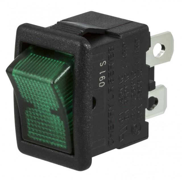 ZF (Formerly Cherry) LRA22H2BBGLN Multi-Pole Miniature Rocker Switch Single-Pole On-Off With 4.8mm Q.C. Terminals (Product Image)