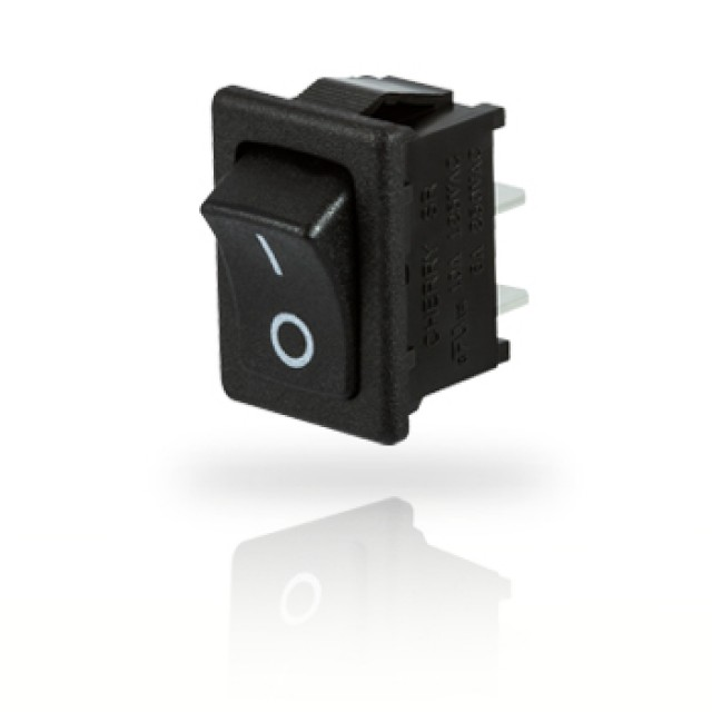 ZF (Formerly Cherry) SRB23A2BBBNN ZF Single Pole On-On Rocker Switch with Curved Black Actuator and Blank markings. Switch has 4.8 mm (.187) Quick Connects Terminals and Black Color Housing (Product Image)