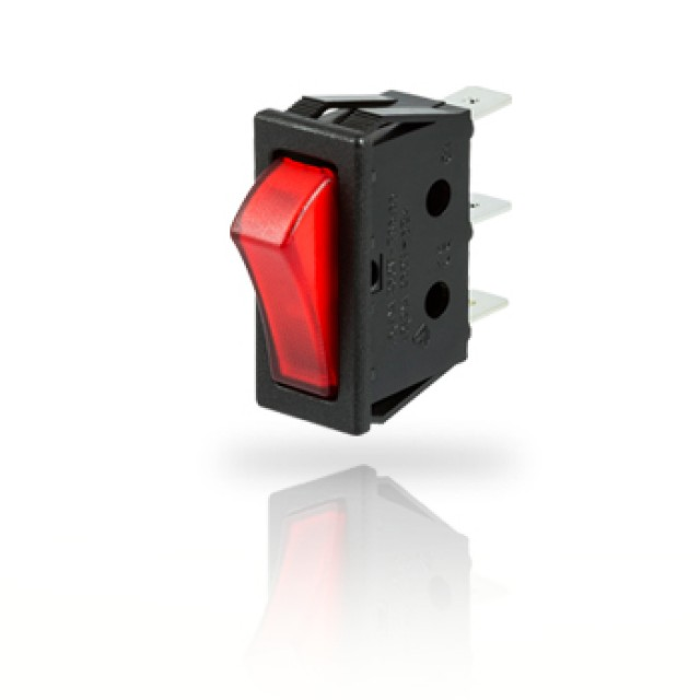 ZF (Formerly Cherry) TRG22F2BBRLN ZF (Cherry) 16 A 250 VAC Single Pole Rocker Switch, PN - TRG22F2BBRLN (Product Image)