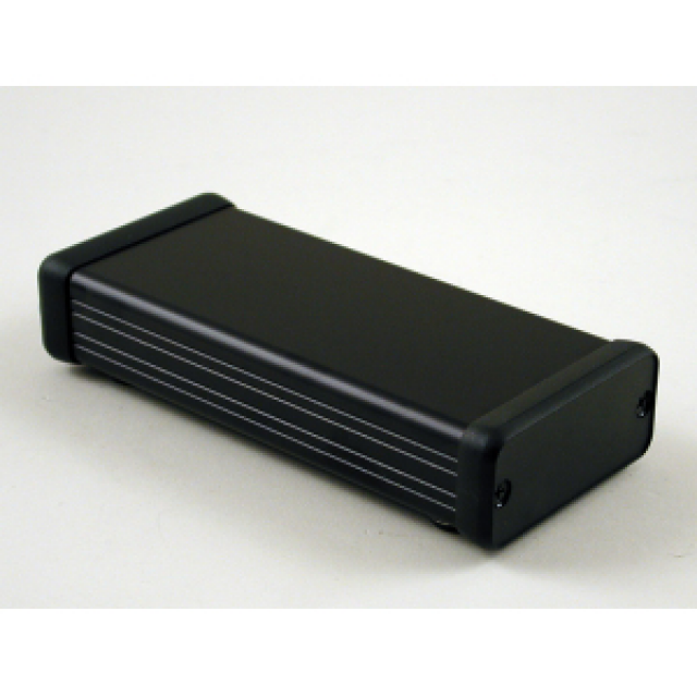 Hammond Mfg. 1455C1202BK Hammond (4.72 x 2.13 x 0.91 Inch) Black Rounded Rectangle Extruded Aluminum Enclosure with Plastic End Plate (Product Image)