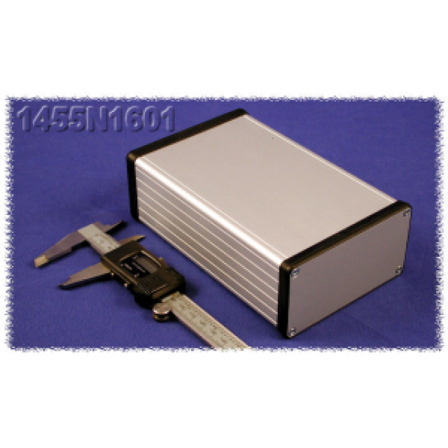 Hammond Mfg. 1455N1601 Hammond (6.30 x 4.06 x 2.09 Inch) Clear Rounded Rectangle Extruded Aluminum Enclosure with Aluminum End Plate (Product Image)