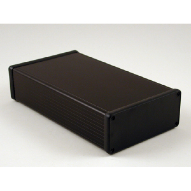 Hammond Mfg. 1455Q2202BK Hammond (8.66 x 4.92 x 2.05 Inch) Black Rounded Rectangle Extruded Aluminum Enclosure with Plastic End Plate (Product Image)