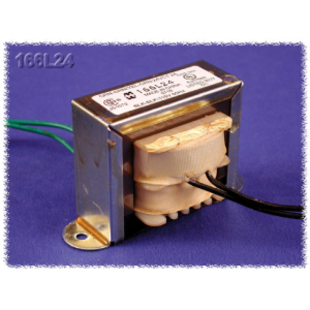 Hammond Mfg. 166A24 Hammond Low Voltage 115V 0.63VA Chassis Mount Open Frame Power Transformer with Secondary of [12.6/25.2 C.T. VAC ÷ .05/.025 Amp]. Tranfomer is 2.06 Wide by 1.25 depth by 1.19 Tall (Inches). RoHs, UL & CSA (Product Image)