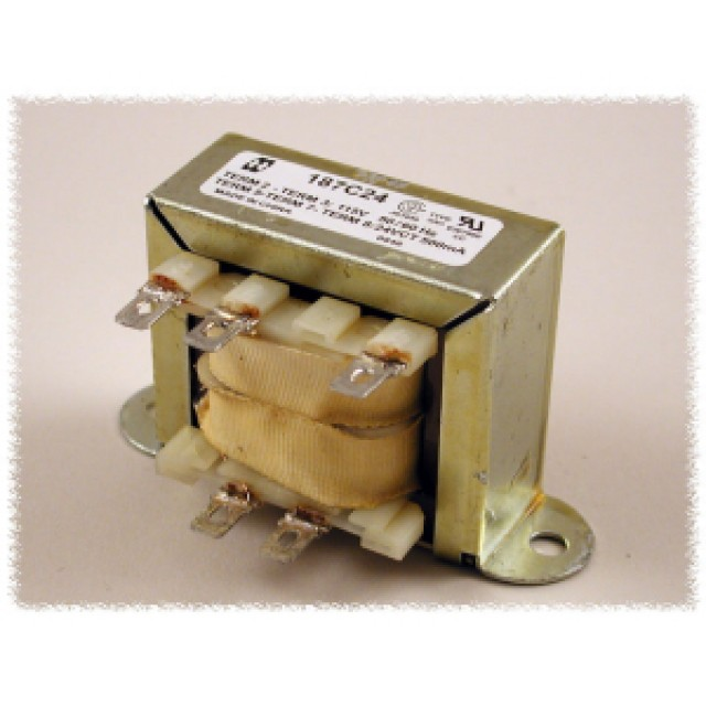 Hammond Mfg. 187F120 Open Frame Low Voltage Chassis Mount Transformer with Single 115 VAC Primary & 120V C.T. Secondary 0.85 Amps, 102 VA Rated, with Quick Connect÷Solder Terminals (Product Image)