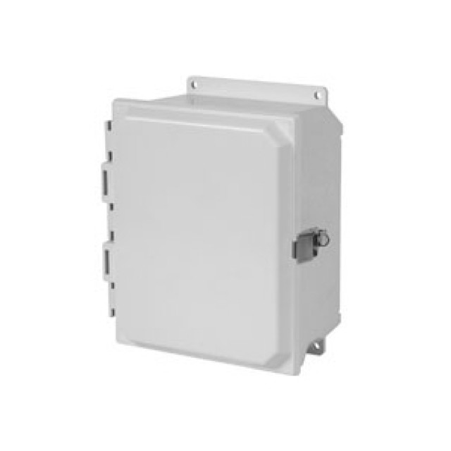 Hammond Mfg. PJU201610L Hammond (20.50 x 16.27 x 10.13) Type 4X Polyester Junction Box with Continuous Hinge Door with Snap Latches  Solid Cover and Feet Mounting (Product Image)