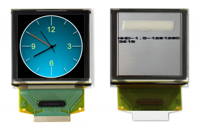 Newhaven NHD-1.5-128128G Newhaven Full Color OLED Glass Full Color 1.5(Inch) Full Color OLED Glass @ 3.3 v and Serial/Parallel Interface Interface with 30 pin FFC Connector and SSD1351 Controller. PN - NHD-1.5-128128G (Product Image)