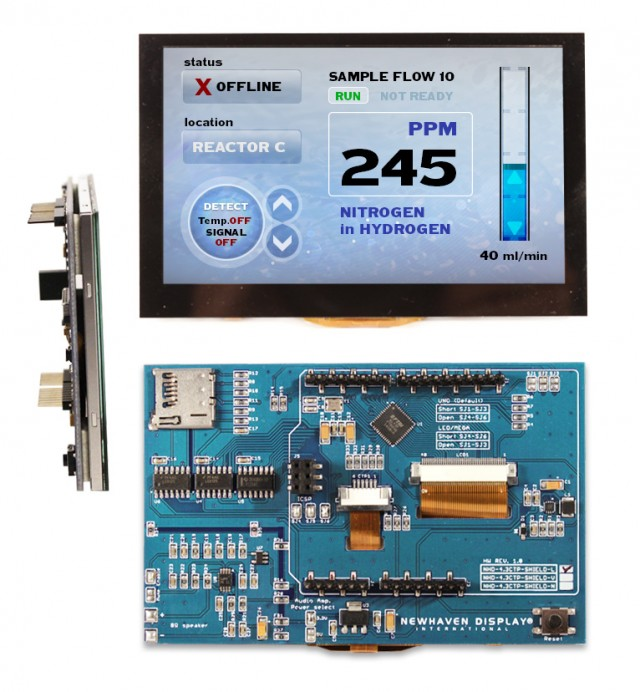 Newhaven NHD-4.3CTP-SHIELD-L Newhaven 480 x RGB x 272 262K 4.3(Inch) Color TFT Capacitive Touch Module + Arduino Shield @ 5V and SPI Interface with Arduino Shield Connector and FTDI FT801 Controller. PN - NHD-4.3CTP-SHIELD-L (Product Image)