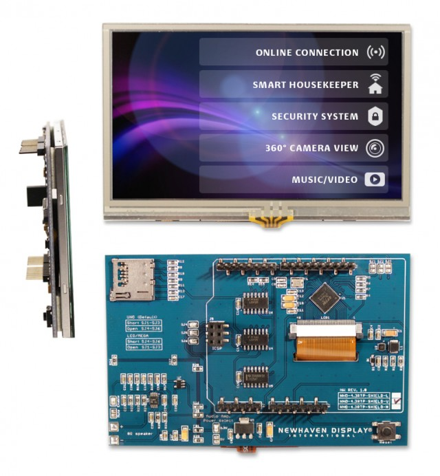 Newhaven NHD-4.3RTP-SHIELD-V Newhaven 480 x RGB x 272 262K 4.3(Inch) Color TFT Resistive Touch MVA Type + Arduino Shield @ 5V and SPI Interface with Arduino Shield Connector and FTDI FT801 Controller. PN - NHD-4.3RTP-SHIELD-V (Product Image)