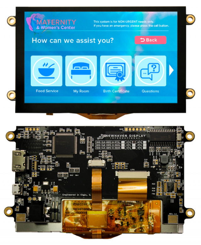Newhaven NHD-5.0-HDMI-N-RTXL-CTU Newhaven 800 x 480 Pixels transmissive 5(Inch) Premium TFT with HDMI interface; USB-interface CTP @ 5 and HDMI Interface Interface with HDMI Connector and TFP401A Controller. PN - NHD-5.0-HDMI-N-RTXL-CTU (Product Image)