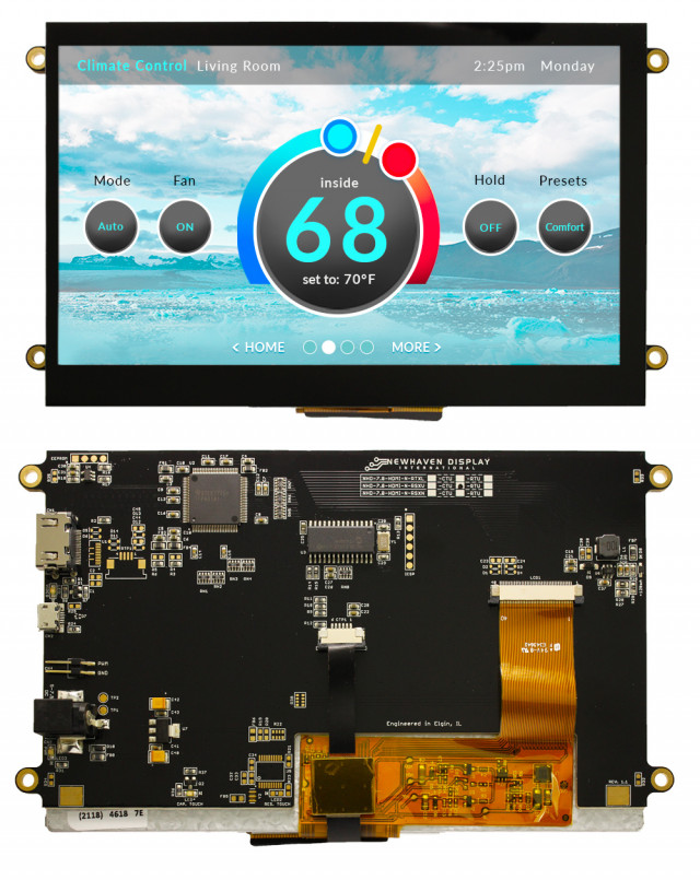 Newhaven NHD-7.0-HDMI-N-RSXV-CTU Newhaven 800 x 480 Pixels transmissive 7(Inch) Premium TFT with HDMI interface; USB-interface CTP @ 5 and HDMI Interface Interface with HDMI Connector and TFP401A Controller. PN - NHD-7.0-HDMI-N-RSXV-CTU (Product Image)