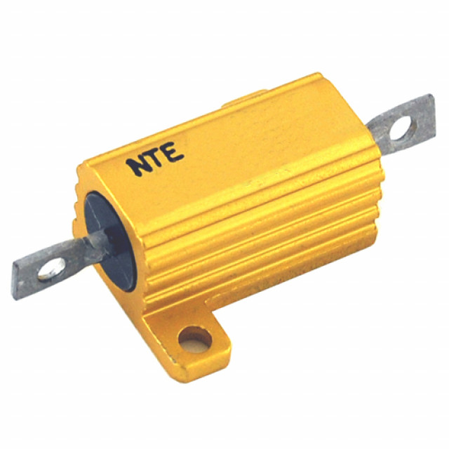 NTE 10WM050 NTE RESISTOR 10 WATT ALUMINUM HOUSED POWER WIREWOUND CHASSIS MOUNT 50.0 OHM 1% AXIAL SOLDER LUG LEADS Part Number 10WM050 (Product Image)