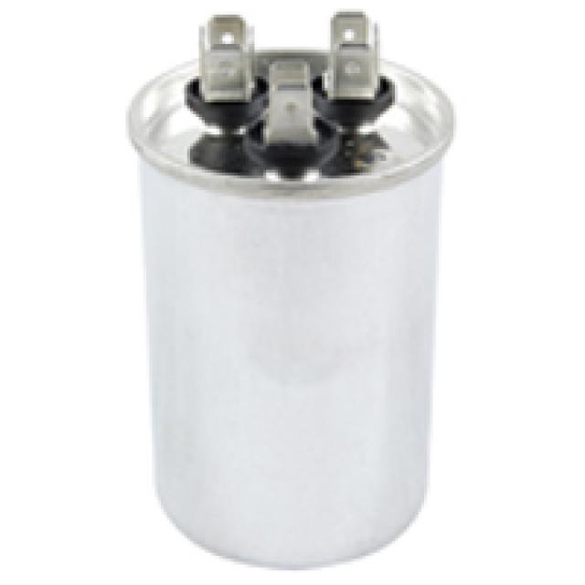 NTE MRRC440V5/60 CAPACITOR MOTOR RUN DUAL CAPACITANCE 5/60 UF 440V ROUND CASE .250 INCH AC METALLIZED QC TERMINALS 5% (Product Image)