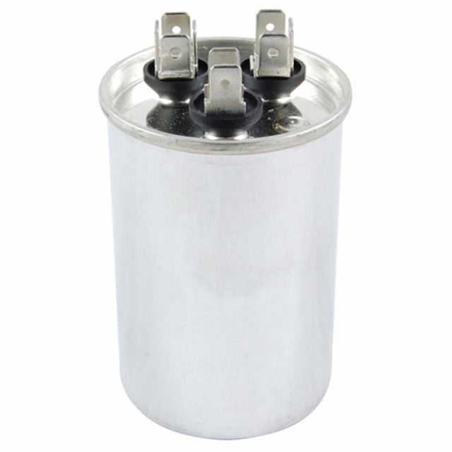 NTE MRRC370V5/55 CAPACITOR MOTOR RUN DUAL CAPACITANCE 5/55 UF 370V ROUND CASE .250 INCH AC METALLIZED QC TERMINALS 5% (Product Image)