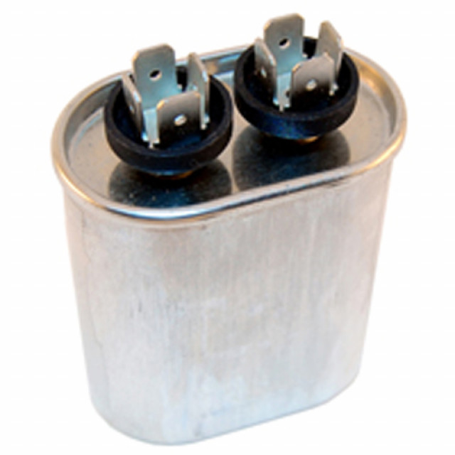 NTE MRC440V3 CAPACITOR MOTOR RUN AC METALLIZED 3UF 440VAC 5% OVAL .250 INCH 4 WAY QUICK CONNECT TERMINALS (Product Image)