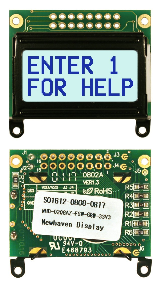 Newhaven NHD-0208AZ-FSW-GBW-33V3 Newhaven 2 x 8 Characters Transflective LCD Character Display Using 8-Bit Parallel Interface and 2x8 Top Connector. (Product Image)