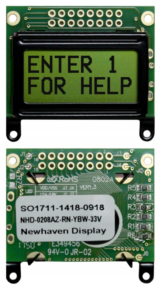 Newhaven NHD-0208AZ-RN-YBW-33V Newhaven 2 x 8 Characters Reflective LCD Character Display Using 8-Bit Parallel Interface and 2x8 Top Connector. (Product Image)