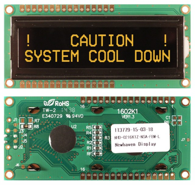 Newhaven NHD-0216K1Z-NSA-FBW-L Newhaven 2 x 16 Characters Transmissive LCD Character Display Using 8-Bit Parallel Interface and 1x16 Top/Bot Connector. (Product Image)