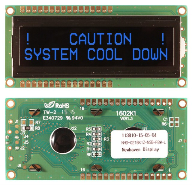Newhaven NHD-0216K1Z-NSB-FBW-L Newhaven 2 x 16 Characters Transmissive LCD Character Display Using 8-Bit Parallel Interface and 1x16 Top/Bot Connector. (Product Image)