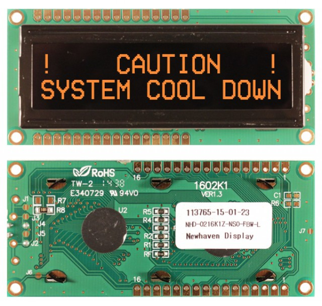 Newhaven NHD-0216K1Z-NSO-FBW-L Newhaven 2 x 16 Characters Transmissive LCD Character Display @ 5V and 8-Bit Parallel Interface with 1x16 Top/Bot Connector and SPLC780D OR ST7066U Controller. PN - NHD-0216K1Z-NSO-FBW-L (Product Image)