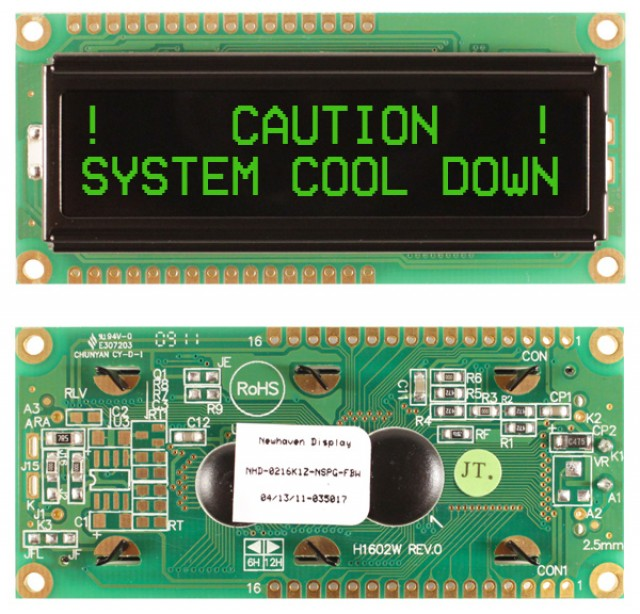 Newhaven NHD-0216K1Z-NSPG-FBW Newhaven 2 x 16 Characters Transmissive LCD Character Display @ 5V and 8-Bit Parallel Interface with 1x16 Top/Bot Connector and SPLC780D OR ST7066U Controller. PN - NHD-0216K1Z-NSPG-FBW (Product Image)