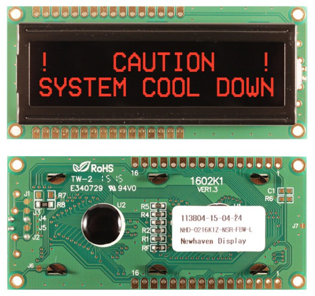Newhaven Display NHD-0216K1Z-NSR-FBW-L Newhaven 2 x 16 Characters Transmissive LCD Character Display @ 5V and 8-Bit Parallel Interface with 1x16 Top/Bot Connector and SPLC780D OR ST7066U Controller. PN - NHD-0216K1Z-NSR-FBW-L (Product Image)