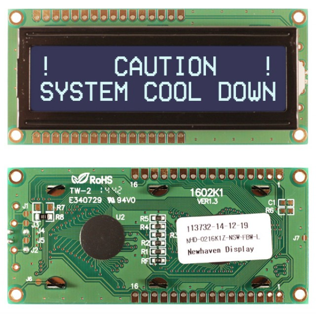Newhaven NHD-0216K1Z-NSW-FBW-L Newhaven 2 x 16 Characters Transmissive LCD Character Display @ 5V and 8-Bit Parallel Interface with 1x16 Top/Bot Connector and SPLC780D OR ST7066U Controller. PN - NHD-0216K1Z-NSW-FBW-L (Product Image)