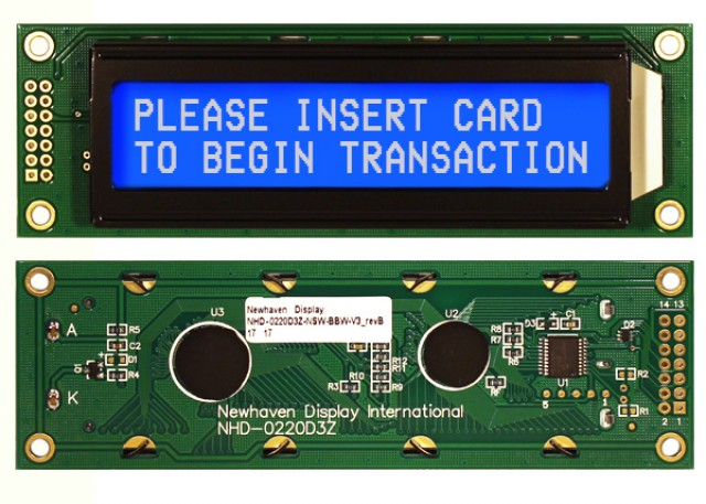 Newhaven Display NHD-0220D3Z-NSW-BBW-V3 Newhaven 2 x 20 Characters Transmissive Serial LCD @ 5V and I2C; RS232; SPI Interface with LEFT 2x16 Connector and PIC 16F690 Controller. PN - NHD-0220D3Z-NSW-BBW-V3 (Product Image)