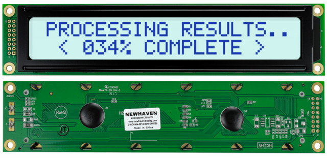 Newhaven Display NHD-0220WH-LTGH-JT# Newhaven 2 x 20 Characters Transflective LCD Character Display @ 5V and 8-Bit Parallel Interface with 2x8 Left Connector and KS0066U Controller. PN - NHD-0220WH-LTGH-JT# (Product Image)