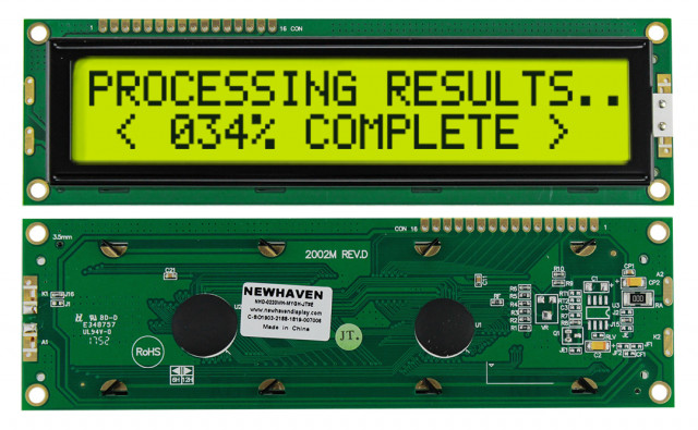 Newhaven Display NHD-0220WH-MYGH-JT#E Newhaven 2 x 20 Characters Transflective LCD Character Display @ 5V and 8-Bit Parallel Interface with 1x16 Top Connector and KS0066U Controller. PN - NHD-0220WH-MYGH-JT#E (Product Image)