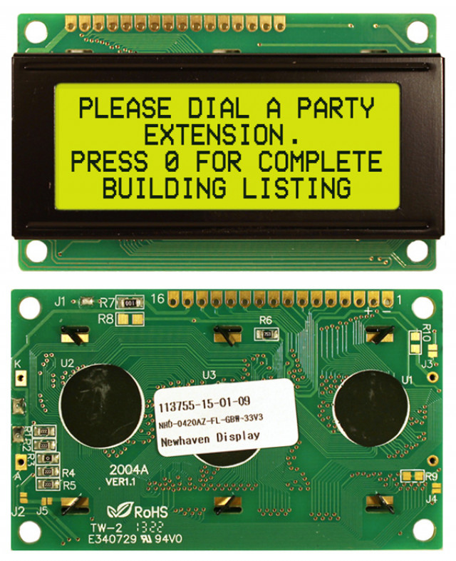 Newhaven Display NHD-0420AZ-FL-GBW-33V3 Newhaven 4 x 20 Characters Transflective LCD Character Display @ 3.3V and 8-Bit Parallel Interface with 1x16 Top Connector and SPLC780D OR ST7066U Controller. PN - NHD-0420AZ-FL-GBW-33V3 (Product Image)