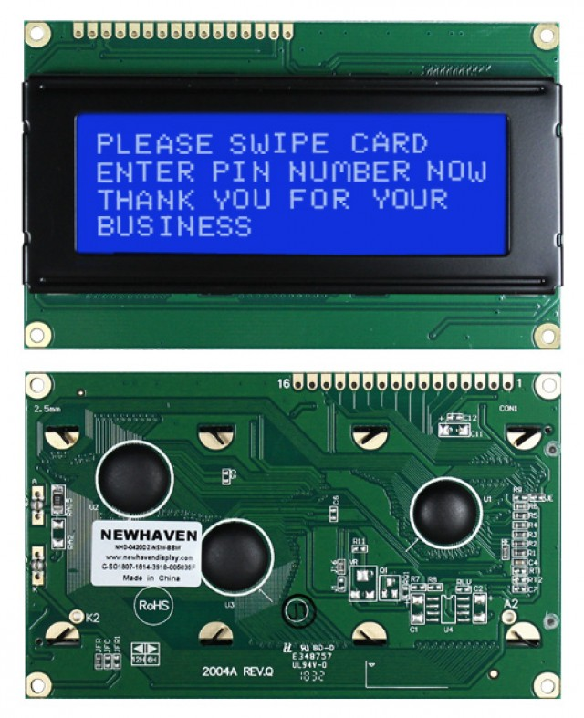 Newhaven Display NHD-0420DZ-NSW-BBW Newhaven 4 x 20 Characters Transmissive LCD Character Display @ 5V and 8-Bit Parallel Interface with 1x16 Top Connector and SPLC780D OR ST7066U Controller. PN - NHD-0420DZ-NSW-BBW (Product Image)
