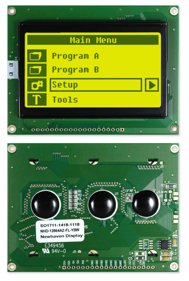 Newhaven NHD-12864AZ-FL-YBW Newhaven 128 x 64 Pixels Transflective  LCD Graphic Display @ 5V and 8-Bit Parallel Interface with 1x20 Bottom Connector and KS0108 Controller. PN - NHD-12864AZ-FL-YBW (Product Image)