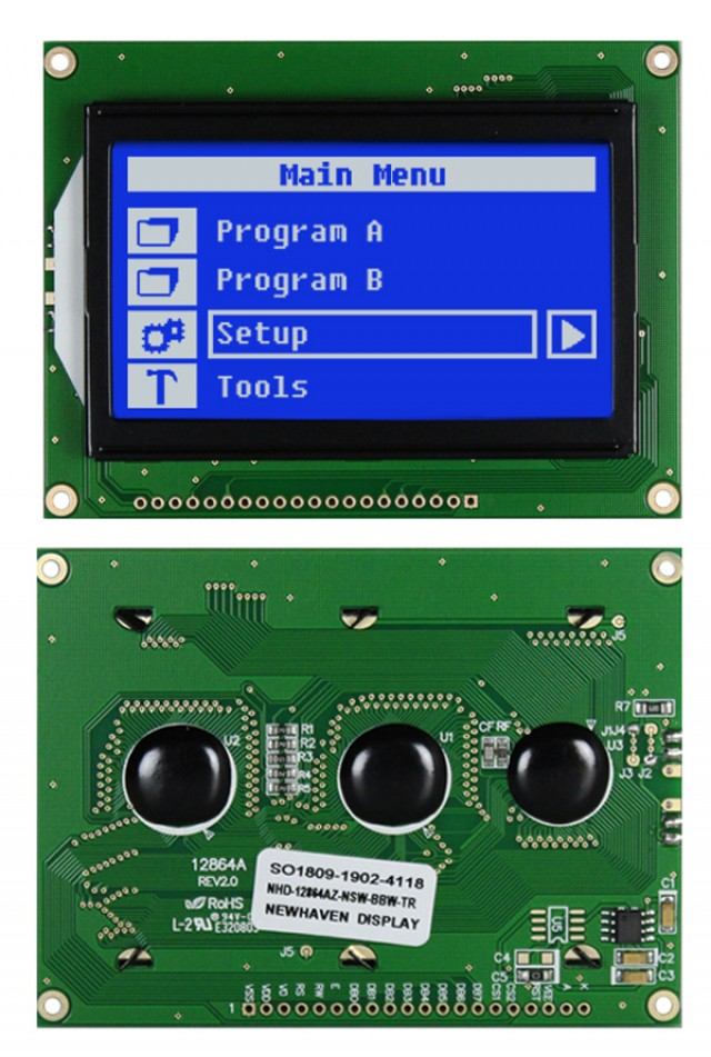 Newhaven NHD-12864AZ-NSW-BBW-TR Newhaven 128 x 64 Pixels Transmissive  LCD Graphic Display-  Temp Comp contrast @ 5V and 8-Bit Parallel Interface with 1x20 Bottom Connector and KS0108 Controller. PN - NHD-12864AZ-NSW-BBW-TR (Product Image)