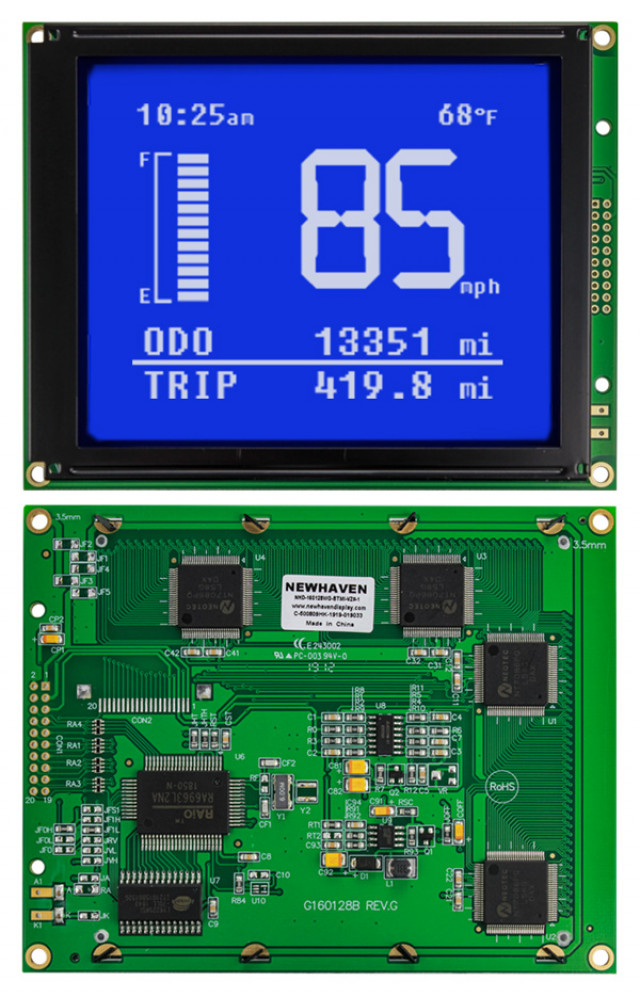 Newhaven Display NHD-160128WG-BTMI-VZ#-1 Newhaven 160 x 128 Pixels Transmissive  LCD Graphic Display @ 5.0V and 8-Bit Parallel Interface with 2x10 Right Connector and T6963C Controller. PN - NHD-160128WG-BTMI-VZ#-1 (Product Image)