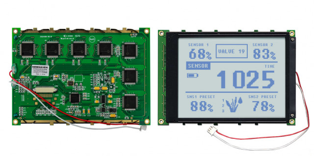 Newhaven NHD-320240WG-BxTGH-VZ#-3VR Newhaven 320 x 240 Pixels Transflective  LCD Graphic Display @ 3.3V and 8-Bit Parallel Interface with 1x20 Back Connector and S1D-13700 Controller. PN - NHD-320240WG-BxTGH-VZ#-3VR (Product Image)