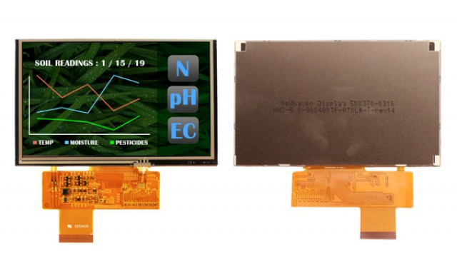 Newhaven Display NHD-5.0-800480TF-ATXL#-T Newhaven 800 x 480 Pixels Transmissive LCD TFT w/touch panel @ 3.3V and 24-Bit RGB Digital Interface with 40 pin Connector and None Controller. PN - NHD-5.0-800480TF-ATXL#-T (Product Image)