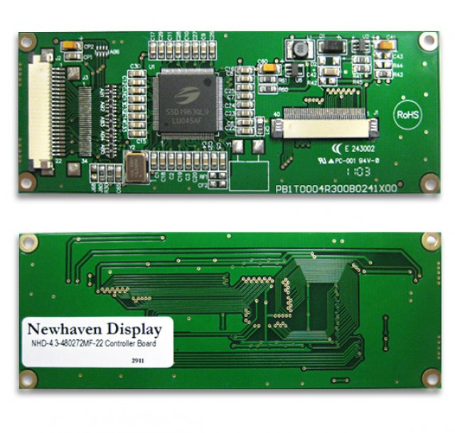 Newhaven Display NHD-4.3-480272MF-22 Digital controller board for 4.3(In) TFT with Touch Panel. 3.3V, 8-bit input. (Product Image)