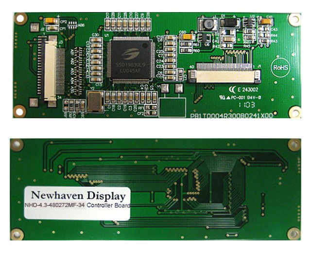 Newhaven NHD-4.3-480272MF-34 Digital controller board for 4.3(In) TFT with Touch Panel. 3.3V, 16-bit input. (Product Image)