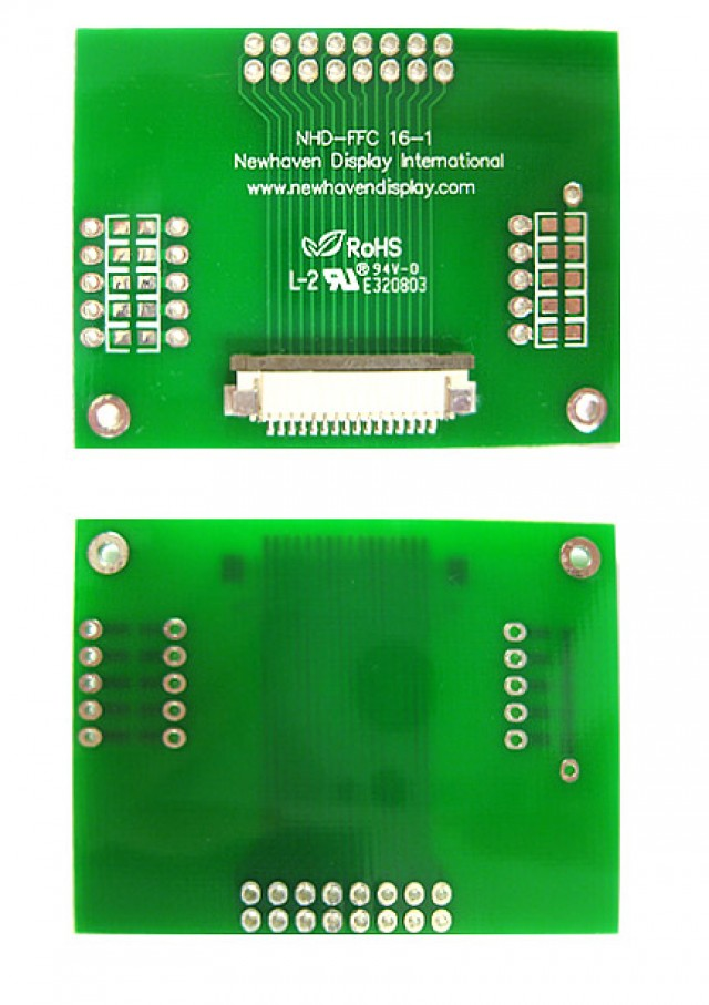 Newhaven Display NHD-FFC16-1 Newhaven   16 pin 1mm pitch FFC to thru hole adapter @  and  Interface with  Connector and  Controller. PN - NHD-FFC16-1 (Product Image)